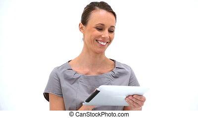 utilisation, sourire, pc tablette, femme