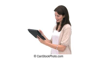utilisation, sourire, tablette, femme, informatique