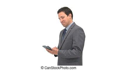 utilisation, sourire, tablette, homme affaires, informatique