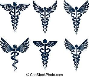 utilisation, symboles, monde médical, snakes., vecteur, créé, ailes, thème, ensemble, oiseau, traitement, caducée, rééducation, illustrations.