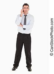 utilisation, téléphone, homme affaires, mobile