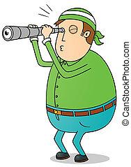utilisation, télescope, gros homme