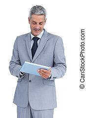 utilisation, tablette, homme affaires, pc, heureux