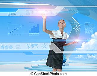 utilisation, technologies, avenir, blond, heureux