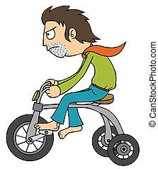 utilisation, vélo, minuscule, homme