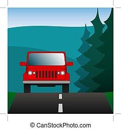 utilità, image., guida, automobile, nature., suv, vettore, foresta, fondo, veicolo, sport, rosso, road.