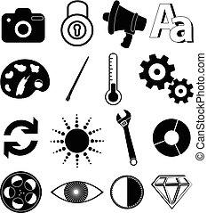 utility application icons set