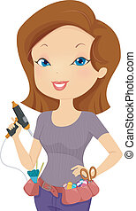 Utility Belt Girl - Illustration of a Girl Wearing a Utility...