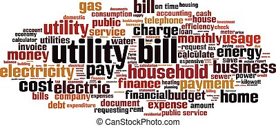 Utility bill-horizon.eps - Utility bill word cloud concept....