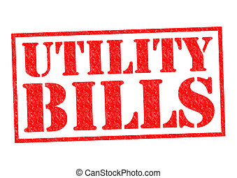 UTILITY BILLS red Rubber Stamp over a white background.