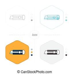 Utility knife icon 4 design