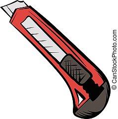 Utility knife icon cartoon