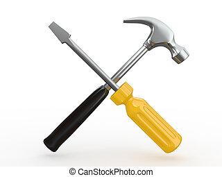 utility., redskapen, skruvmejsel, och, hammer.