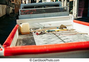 Utility service van vehicle - rear view