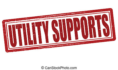 Utility supports - Stamp with text utility supports inside, ...