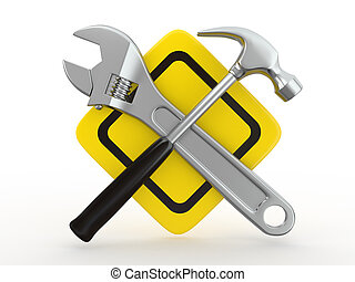 Utility. Tools, Wrench and hammer. 3d - Utility. Tools,...