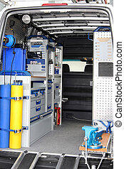 Utility van interior - Interior view of tool utility service...