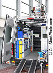 Utility van - Rear view of utility service van vehicle