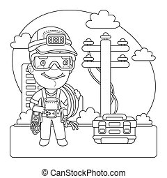 Utility Worker Coloring Page