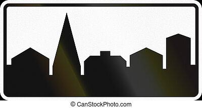 utilizado,  área,  -, urbanizado, señal, Suecia, camino