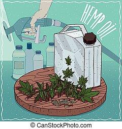 utilizado, aceite, producción, combustible, cáñamo, semilla