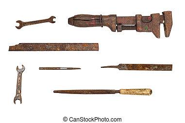 utilizado, aislado, Colección, Plano de fondo, blanco, herramientas