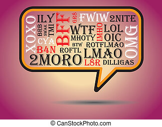 utilizado, charla, bubble., abreviaciones, en línea,...