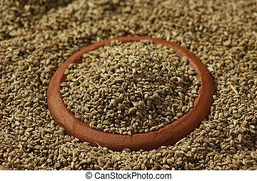 utilizado, condimento, raro, semillas, ajwine, carom, o, especia