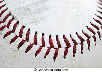 utilizado, costura, macro, arriba, beisball, cierre