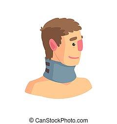 utilizado, cuello, espina dorsal, problemas, ilustración, vector, gusto, cervical, abrazadera, caricatura
