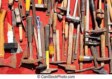 utilizado, Grunge, mano, oxidado, hierro, viejo,...
