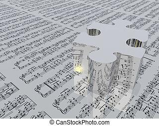 utilizado, hoja, notación, no, esto, pedazo del rompecabezas, 3d, muic, needed, música, proviede, realese, crear, imagen, software