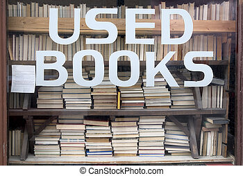 utilizado, libros, señal, en, librería, ventana