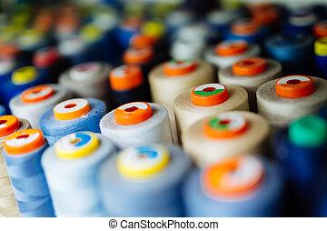 utilizado, tela, colorido, industria, hilo, carretes