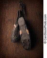 utilizado, viejo, shoes, deportes