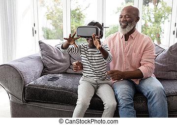 utilizar, auriculares, habitación, virtual, nieto, vida, aduelo, realidad