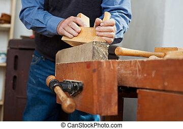 utilizar, banco de trabajo, madera, carpintero, cepilladora