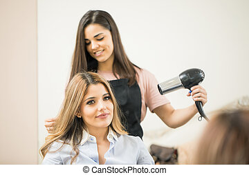 utilizar, blowdryer, peluquero