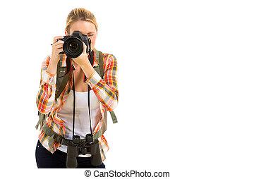 utilizar, cámara, viajero, hembra, digital