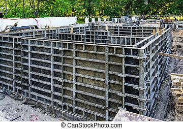 utilizar, construcción edificio, formwork, nuevo, sistema, el verter, cimientos, precast, concreto