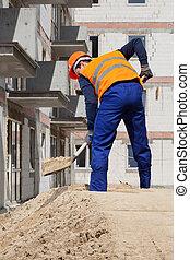 utilizar, constructor, pala, trabajando