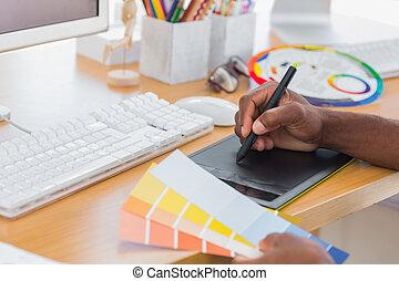 utilizar, diseñador de gráficos, tableta
