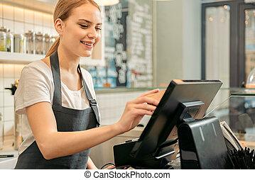 utilizar, dispositivo, digital, pago, tienda, alegre, ayudante