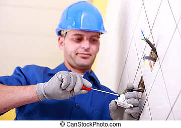 utilizar, electricista, destornillador