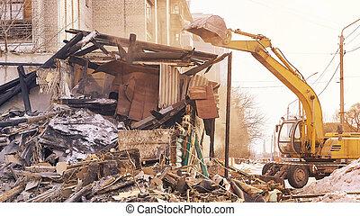 utilizar, equipo, rebuilding, city., casa, quitar, process., excavador, demolición