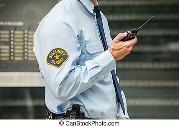 utilizar, guardia de seguridad, walkie-talkie
