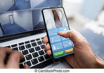 utilizar, hogar, sistema, teléfono móvil, persona, seguridad