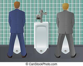 utilizar, hombres, urinario