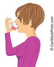 utilizar, inhalador del asma, blanco, bakcground, mujer, joven