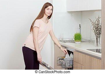 utilizar, lavaplatos, cocina, niña, woman.